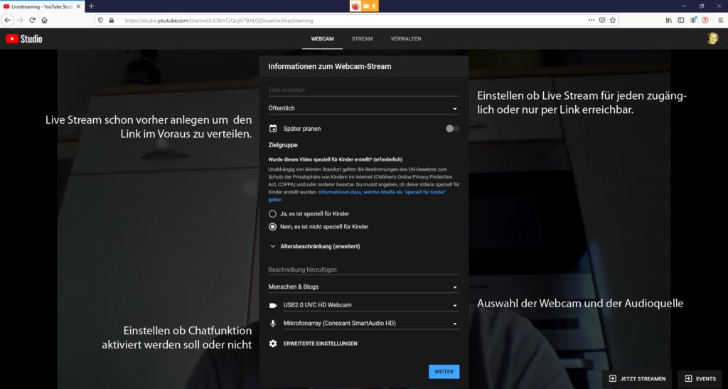 Youtube Livestream Starten